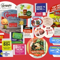 Coupon on pack peel off labels