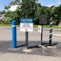 Blue Note Apartments Caution Sign