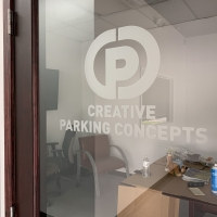Creative parking concepts door graphic